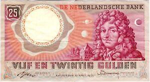 Netherlands  25 Gulden 1955 P-87 VF+