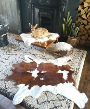 Fabulously Soft Long Hair-On Cowhide Rug or Throw Brown White Cowboy Cabin Chic