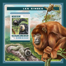 Niger 2016 MNH Monkeys White-faced Saki 1v S/S Wild Animals Stamps