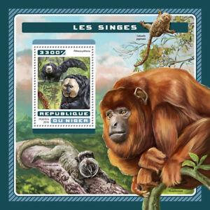 Niger 2016 MNH Monkeys White-faced Saki 1v S/S Wild Animals Stamps