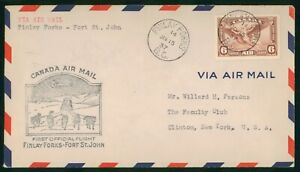 MayfairStamps 1937 Finlay Forks British Columbia to Fort St. John Canada First F
