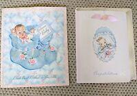 Lot 2 Unused Vintage Mid Century Greeting Cards Baby Art Scrapbook Ephemera
