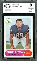 1968 Topps #162 Mike Ditka Card BGS BCCG 9 Near Mint+