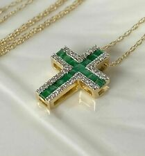 3Ct Princess Cut Green Emerald Cross Charm Pendant 14K Yellow Gold FN Free Chain