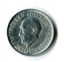 Seltene Spenden Medaille 1 DM für Flüchtlinge Konrad Adenauer 1953 Alu M_1234