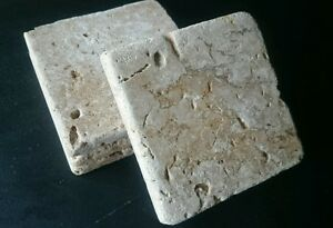 Rustic Natural Travertine Stone Coasters Set of 4
