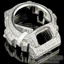 MENS WOMEN CUSTOM G-SHOCK BEZEL 14K WHITE GOLD WHITE DIAMOND SIMULATED WD 6900