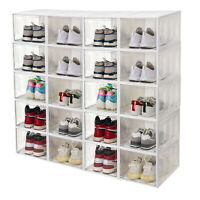 Shoe Storage Boxes Stackable Front Open Sneaker Shoe Container Plastic Organizer