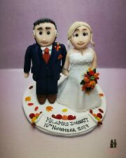 Personalised bride and groom clay cake topper