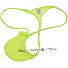 Green Men Elastic Thong Pouch Underwear Jacquard String Micro Bikini Mini T-back