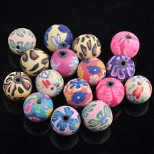 30pcs 16mm Polymer Clay Round Flower with Diamon Loose Beads DIY Jewelry Making