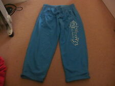 Ladies/girls turquoise 'Varsity' cropped 3/4 jogging bottoms trousers size 8