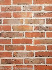 Realistic, Light Terracotta, Non Textured (Flat Paper) , Brick Wallpaper