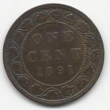 CANADA, 1891,  LARGE  DATE,  LARGE  LEAVES,  LARGE CENT,  BRONZE, KM#7,  VF-XF+