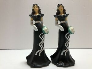 Vintage Wilton Bridesmaid Cake Toppers Wedding Black Dress 90s Decor Throw Back