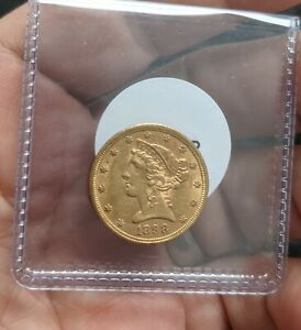 1898 Half Eagle, $5 Gold Liberty, Investment Gold Coin -#993