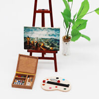 1/12 Doll House Paintbox Painting Easel Palette Miniature Art Room Scene Decor M