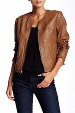 Via Spiga NWT Lambskin Leather & Knit Zip Front  Jacket Blazer SAND Brown L $400