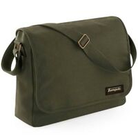 Tontojacks Olive Green Canvas Messenger Shoulder Bag School College Student Mens
