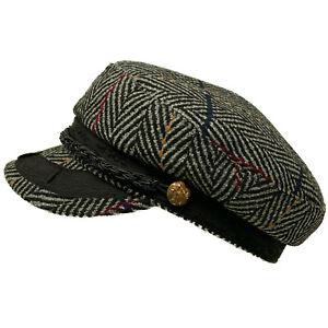 Men's Greek Fisherman Sailor Fiddler Winter Wool Driver Hat Cap Tweed Gray L/XL