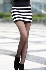 Black White Striped Skirt Mod Retro Micro Mini Stretch High Waist One Size 71034