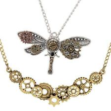 2Pcs Gears Metal Cog Necklace Dragonfly Pendant Steampunk Style for Unisex