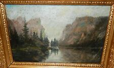 "OLD 19TH CENTURY ""TOBLACHER SEE TIROL"" LANDSCAPE SCENE OIL ON BOARD PAINTING"