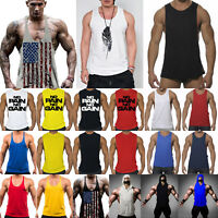 Mens Gym Tank Top Muscle Bodybuilding Singlet Workout Vest Sleeveless Tee Shirt