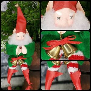 Fabulous Vintage Paper Mache Elf Ornament Taiwan Felt Bells Red Pixie Gnome [E1