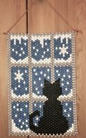 VTG BLACK CAT BY WINDOW BEADED ART WALL HANGING TAPESTRY