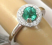 Colombian Emerald Ring 18K White gold Pave Halo Heirloom GIA App. $3,683