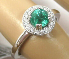 Colombian Emerald Ring 18K White gold Pave Halo Heirloom Natural vivid Ap $3,683