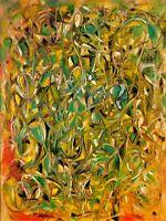 "Original abstract oil painting signed by Nalan Laluk: ""Illumination"""