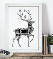 Personalised Word Art Stag Deer Reindeer Print Family Gift For Dad Daddy Father