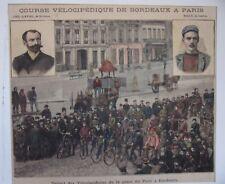 GRAVURE SUR BOIS 19ème COURSE VELOCIPEDIQUE DE BORDEAUX A PARIS PLACE DU PONT
