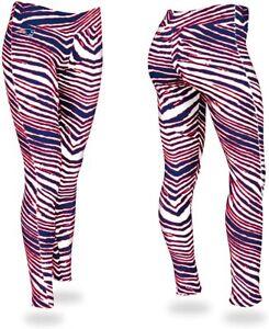 Zubaz New England Patriots NFL Women's Zebra Print Legging, Red/Blue