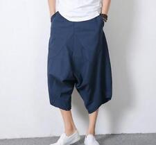 Wide leg Casual Men Cotton Linen Retro Cropped Harem Pant Short Navy Blue US 2XL