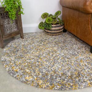 Modern Grey & Yellow Flecked Shaggy Rug Round Circle Area Mat Dense Carpet Rugs