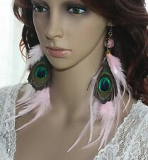 3 pair 79B4-14 Bead Natural Peacock Pink Feather Earrings Jewelry Lhf1404