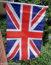 "UNION JACK GREAT BRITAIN LARGE HANDWAVING FLAG 18"" X 12"" with 24"" wooden pole"