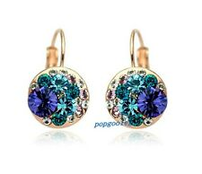 18K rose Gold GP blue  Austria  Crystal zircon stone Crystals mickey Earrings