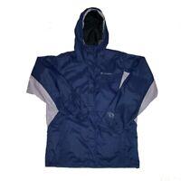 Columbia Omni-Tech Hooded Men's Sze Small Blue Gray Long Sleeve Jacket *READ!*