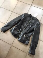 Zara Quilted Shoulders Faux Leather Biker Jacket Size XS UK 8 BNWT