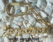 EDLER SCHLÜSSELANHÄNGER JACQUELINE ECHT VERGOLDET GOLD NAME KEYCHAIN KEYRING