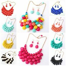 Fashion Women Jewelry Crystal Chunky Statement Bib Pendant Chain Choker Necklace