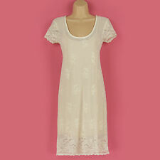 NEW GORGEOUS CREAM LACE & BEIGE CAMI SLIP LINED SUMMER,WEDDING DRESS SIZE 8