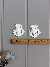 PAIR CHIC DECORATIVE FURNITURE APPLIQUES VINTAGE MOULDINGS THISTLES/ONLAY/CRAFT
