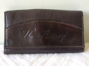 THOMAS BURBERRY real leather ladies or men's dark brown wallet/purse