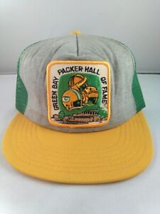 Vtg GREEN BAY PACKERS HALL OF FAME 70's Big Patch snapback mesh trucker hat cap