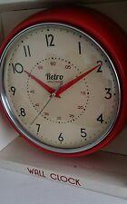 ROUND KITCHEN CLOCK RETRO VINTAGE DINER BRIGHT RED WALL CLOCK NEW